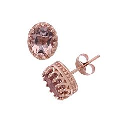 Tiara 14k Rose Gold Over Silver Simulated Morganite Stud Earrings