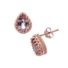 14k Rose Gold Over Silver Simulated Morganite Stud Earrings