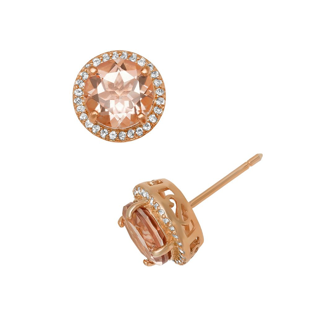 14k Rose Gold Over Silver Simulated Morganite & Lab-Created White Sapphire Halo Stud Earrings