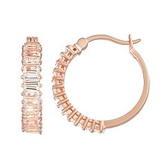 14k Rose Gold Over Silver Lab-Created White Sapphire Baguette Hoop Earrings