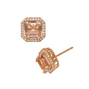 14k Rose Gold Over Silver Simulated Morganite and Lab-Created White Sapphire Halo Stud Earrings