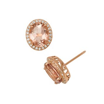 14k Rose Gold Over Silver Simulated Morganite & Lab-Created White Sapphire Oval Halo Stud Earrings