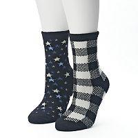 Women's SONOMA Goods for Life™ 2-pk. Plaid & Stars Gripper Slipper Socks
