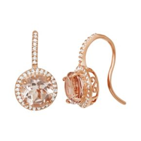 14k Rose Gold Over Silver Simulated Morganite and Lab-Created White Sapphire Halo Drop Earrings