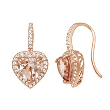 14k Rose Gold Over Silver Simulated Morganite & Lab-Created White Sapphire Heart Halo Drop Earrings