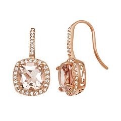 14k Rose Gold Over Silver Simulated Morganite & Lab-Created White Sapphire Square Halo Drop Earrings