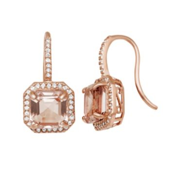 14k Rose Gold Over Silver Simulated Morganite and Lab-Created White Sapphire Octagonal Halo Drop Earrings