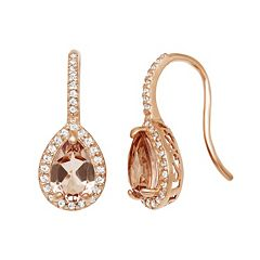 14k Rose Gold Over Silver Simulated Morganite & Lab-Created White Sapphire Halo Teardrop Earrings