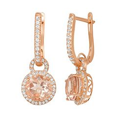 14k Rose Gold Over Silver Simulated Morganite & Lab-Created White Sapphire Halo Drop Earrings