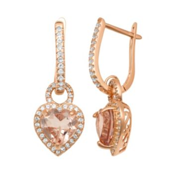 14k Rose Gold Over Silver Simulated Morganite and Lab-Created White Sapphire Heart Halo Drop Earrings