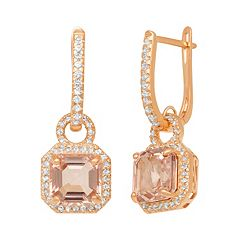 14k Rose Gold Over Silver Simulated Morganite & Lab-Created White Sapphire Octagonal Halo Drop Earrings
