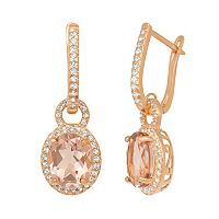 14k Rose Gold Over Silver Simulated Morganite & Lab-Created White Sapphire Oval Halo Drop Earrings