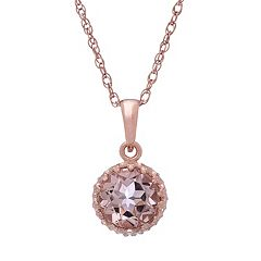 Tiara 14k Rose Gold Over Silver Simulated Morganite Pendant