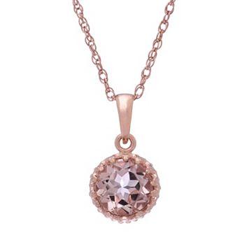 Tiara 14k Rose Gold Over Silver Simulated Morganite Pendant