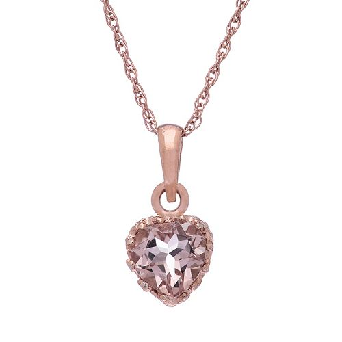 Tiara 14k Rose Gold Over Silver Simulated Morganite Heart Pendant