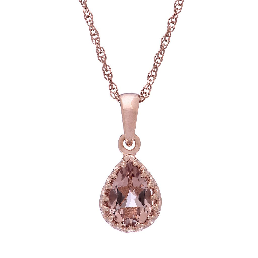 Tiara 14k Rose Gold Over Silver Simulated Morganite Teardrop Pendant