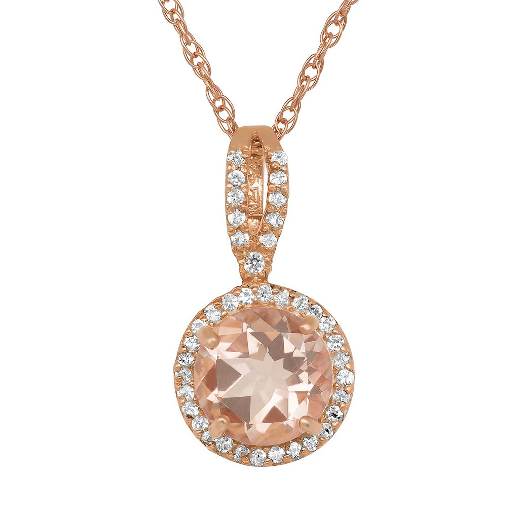 14k Rose Gold Over Silver Simulated Morganite & Lab-Created White Sapphire Halo Pendant