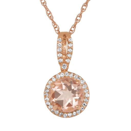 14k Rose Gold Over Silver Simulated Morganite and Lab-Created White Sapphire Halo Pendant