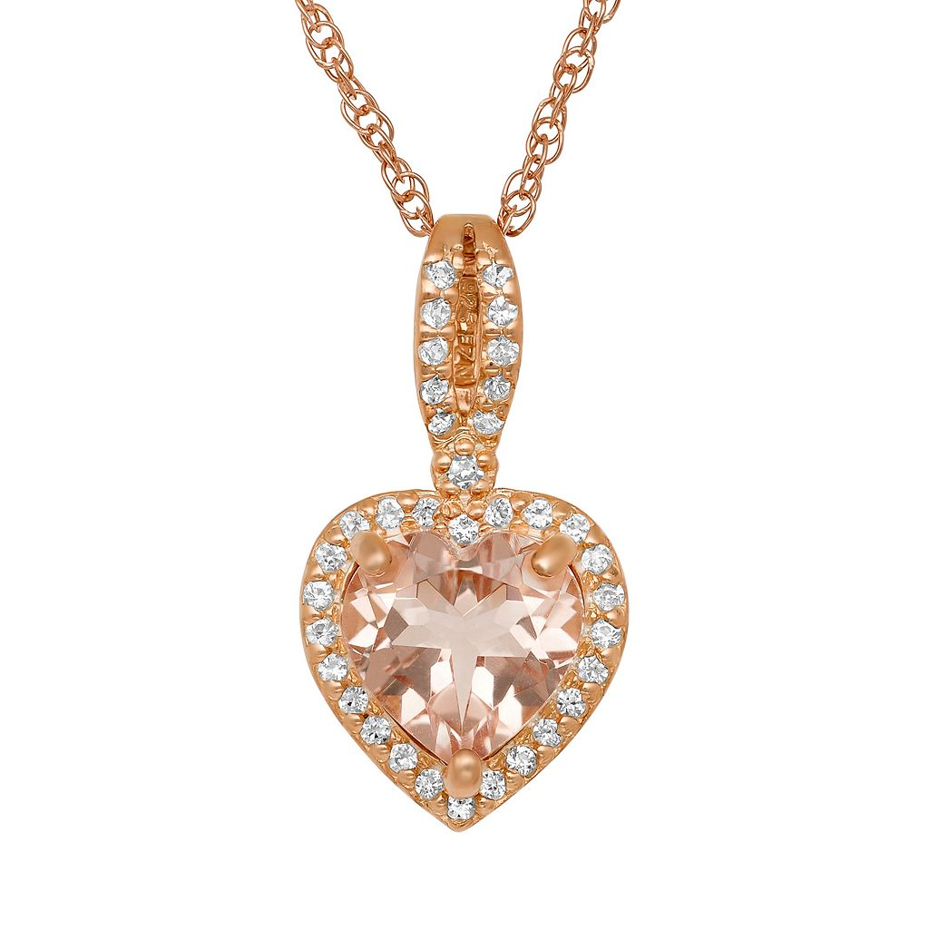 14k Rose Gold Over Silver Simulated Morganite & Lab-Created White Sapphire Heart Halo Pendant
