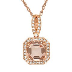 14k Rose Gold Over Silver Simulated Morganite & Lab-Created White Sapphire Octagonal Halo Pendant