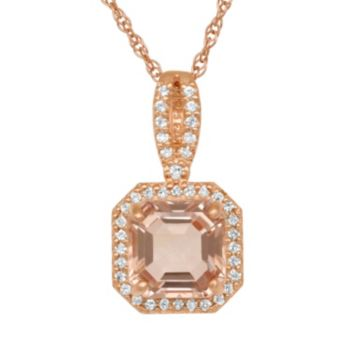 14k Rose Gold Over Silver Simulated Morganite and Lab-Created White Sapphire Octagonal Halo Pendant