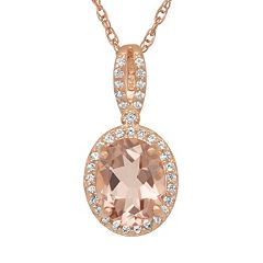 14k Rose Gold Over Silver Simulated Morganite & Lab-Created White Sapphire Oval Halo Pendant