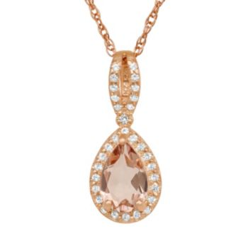14k Rose Gold Over Silver Simulated Morganite and Lab-Created White Sapphire Teardrop Halo Pendant