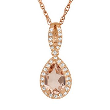 14k Rose Gold Over Silver Simulated Morganite & Lab-Created White Sapphire Teardrop Halo Pendant