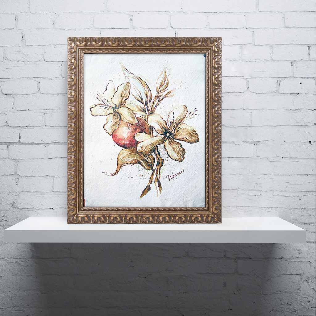 Trademark Fine Art Coffee Flower & Bean Ornate Framed Wall Art