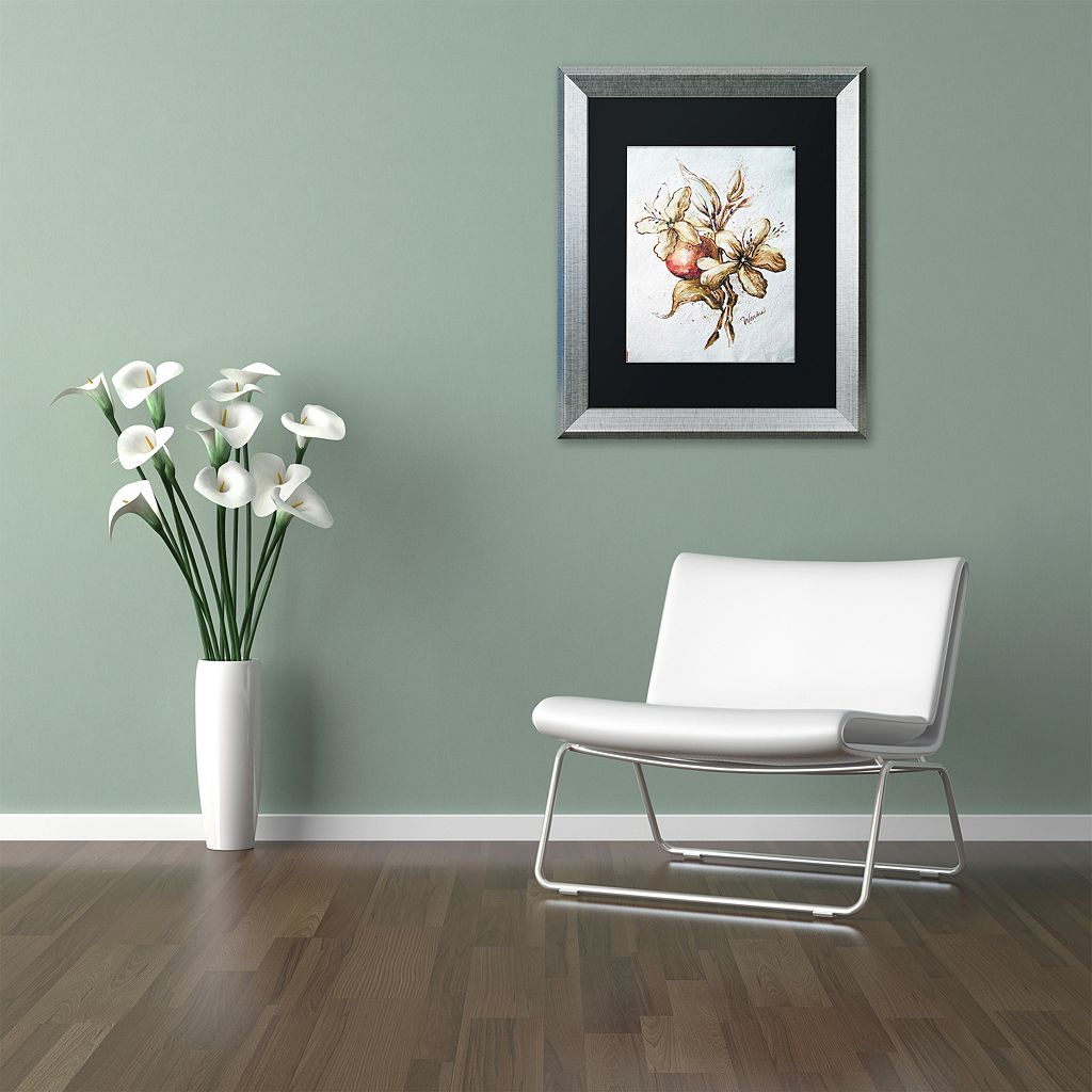 Trademark Fine Art Coffee Flower & Bean Silver Finish Framed Wall Art