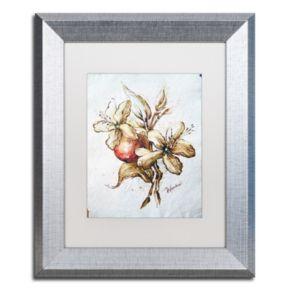 Trademark Fine Art Coffee Flower & Bean Silver Finish Framed Wall Art
