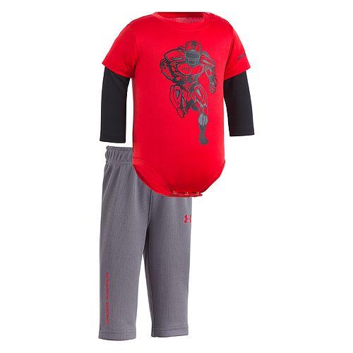 Newborn Baby Boy Under Armour Football Mock-Layer Bodysuit & Pants Set