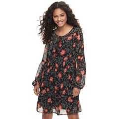 Juniors' Mudd® Print Tie Front Chiffon Dress