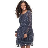 Juniors' Mudd® Print Tie Front Chiffon Dress
