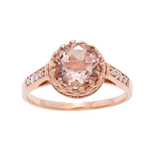 14k Rose Gold Over Silver Simulated Morganite & Lab-Created White Sapphire Crown Ring