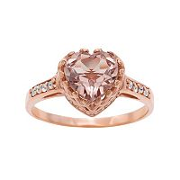 14k Rose Gold Over Silver Simulated Morganite & Lab-Created White Sapphire Heart Crown Ring