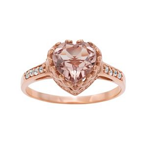 14k Rose Gold Over Silver Simulated Morganite and Lab-Created White Sapphire Heart Crown Ring