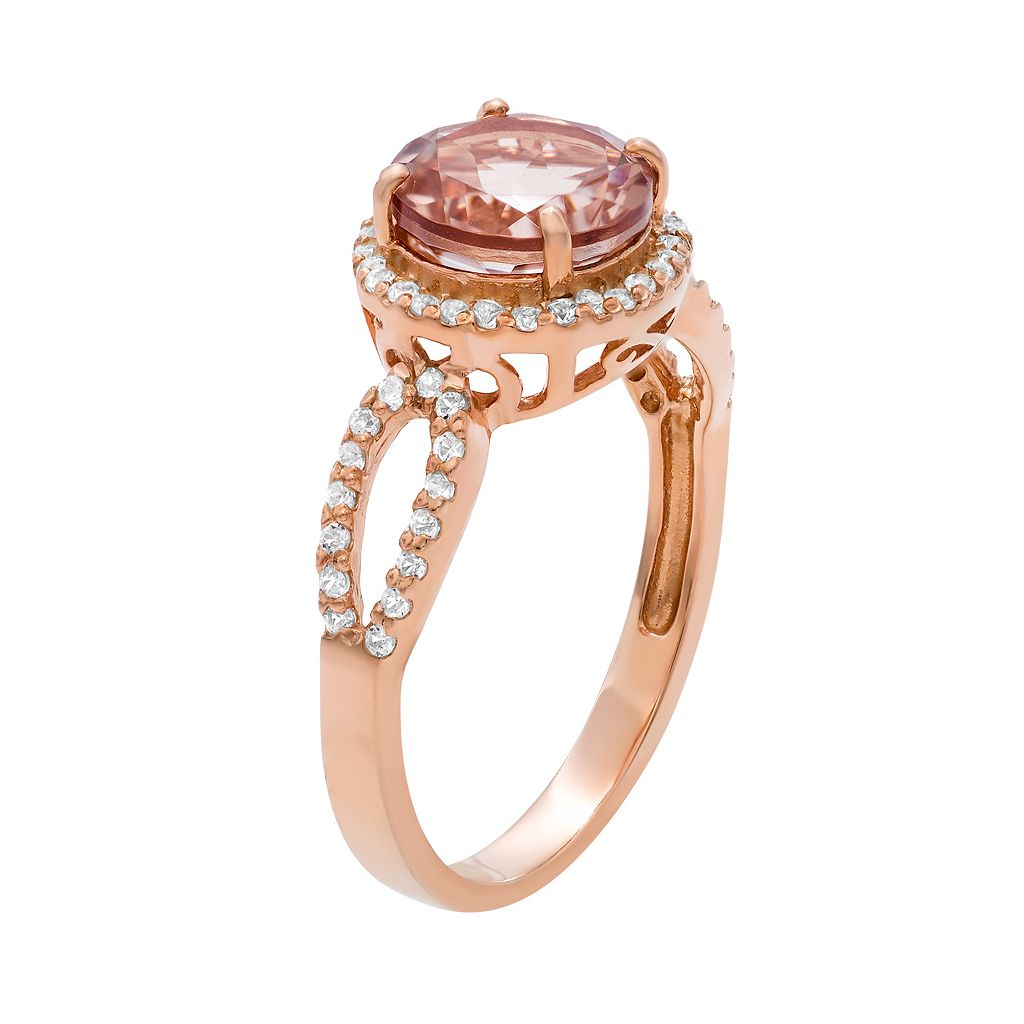 14k Rose Gold Over Silver Simulated Morganite and Lab-Created White Sapphire Halo Ring