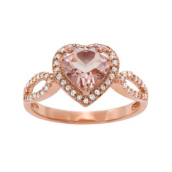 14k Rose Gold Over Silver Simulated Morganite and Lab-Created White Sapphire Heart Halo Ring