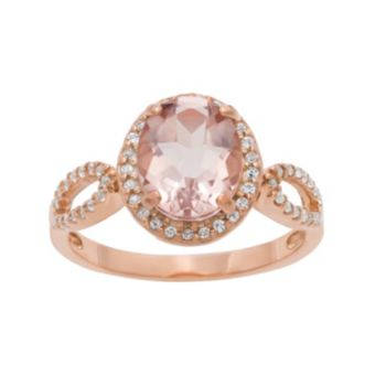 14k Rose Gold Over Silver Simulated Morganite and Lab-Created White Sapphire Oval Halo Ring