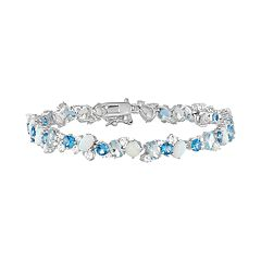 Sterling Silver Lab-Created Gemstone Bracelet