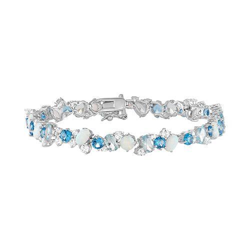Sterling Silver Lab-Created Gemstone Bracelet