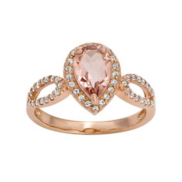 14k Rose Gold Over Silver Simulated Morganite & Lab-Created White Sapphire Halo Ring