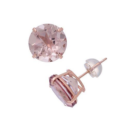 14k Rose Gold Simulated Morganite Stud Earrings
