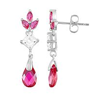 Sterling Silver Lab-Created Ruby & Lab-Created White Sapphire Drop Earrings