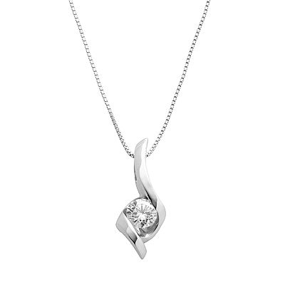Sirena Collection 14k White Gold 1/4-ct. T.W. Diamond Solitaire Swirl Pendant