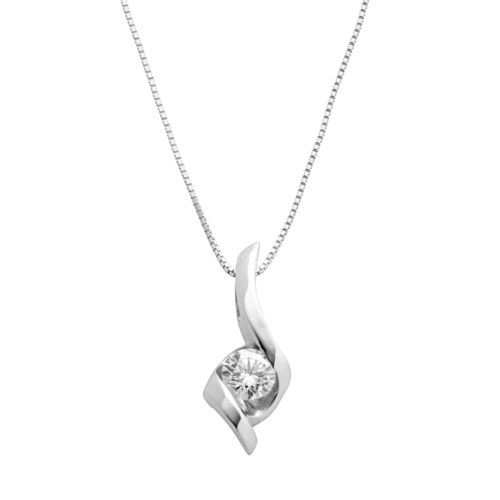 Sirena Collection 14k White Gold 1/4-ct. T.W. Round-Cut Diamond Solitaire Swirl Pendant