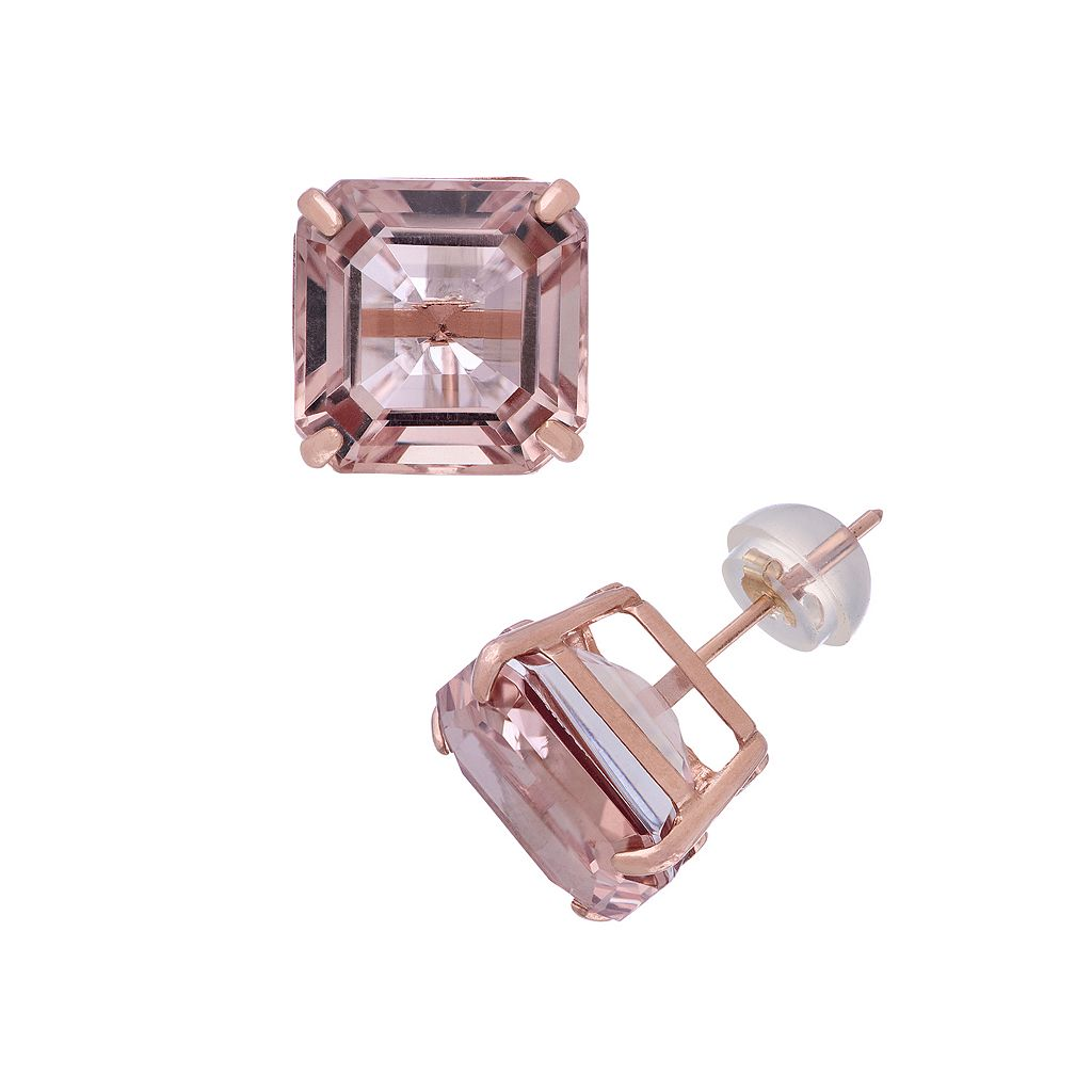 14k Rose Gold Simulated Morganite Stud Earrings