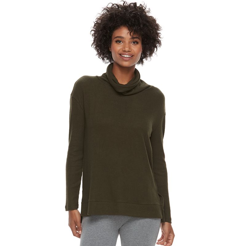 Women's SONOMA Goods for Life™ Marled Cowlneck Sweater (Dark Green ...