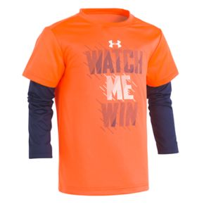 """Boys 4-7 Under Armour """"Watch Me Win"""" Mock-Layer Graphic Tee"""